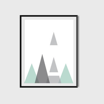 Grey Mint Geometric Wall Art, Poster, Triangles, Opaque, Digital Printable File, Instant Download