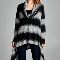 Cowl Neck Ombre Striped Sweater