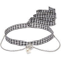 Miu Miu - Gingham cotton, silver-tone, crystal and faux pearl necklace