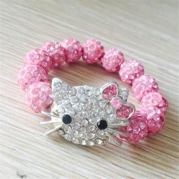 1 PCS Hello Kitty Bracelets for Children Handmade Rope Chain Wrap Charm Bracelets Bangles