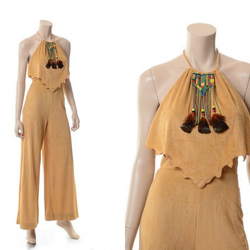 Vintage 70s 80s Southwestern Indian Halter Jumpsuit 1970s 1980s Coco Loco Feather Trim Hippie Romper Gypsy Grunge Boho Playsuit / 7