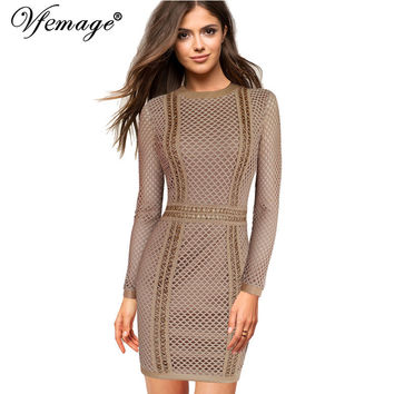 Vfemage Sexy Elegant Geometry High Waist Fashion Womens Girl Ladies Cool Chic Party Evening Casual Zipper Short Mini Dress 4551