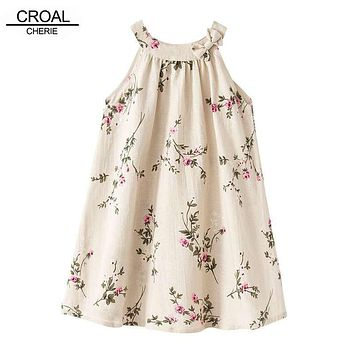 24M-12Y Fashion Linen Embroidered Branches Girls Dresses Breathable Sleeveless Dress Kids Costume Children's clothing Summer