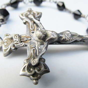 Sideways Cross Bracelet Rosary Bracelet Antique Catholic Crucifix Wire Wrap Glass Bead Chain Bracelet