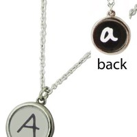 "REVERSABLE 'Typewriter Key"" Initial Monogram Necklace Choose your Letter"