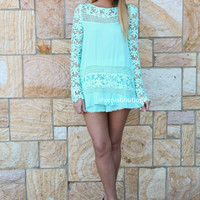 CROCHET DAISY TOP , DRESSES, TOPS, BOTTOMS, JACKETS & JUMPERS, ACCESSORIES, 50% OFF SALE, PRE ORDER, NEW ARRIVALS, PLAYSUIT, COLOUR, GIFT VOUCHER,,Green,LACE,LONG SLEEVES Australia, Queensland, Brisbane