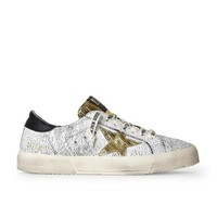 MDIG9IW Golden Goose May Crackled Black Sneakers