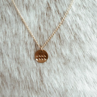 Ocean Water Waves Stamped Necklace in 14/20 Gold Fill or Sterling Silver