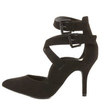 Strappy Pointed Toe Pumps by Charlotte Russe - Black