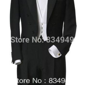 Custom Made to Measure black tailcoats with left chest pocket,WHITE VEST,BESPOKE long tail tuxedo tailcoat,TAILORED EVENING SUIT