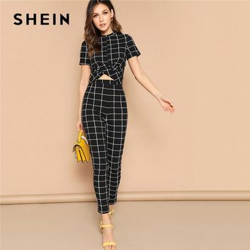 SHEIN Twist Front Grid Crop Top And Skinny Pants Matching Set Women Clothing Spring Elegant Short Sleeve Plaid Two Piece Set