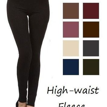 One Size High Waist Fleece Leggings