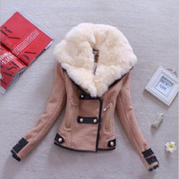 Cultivate one's morality short coat jackets with buttons Khaki
