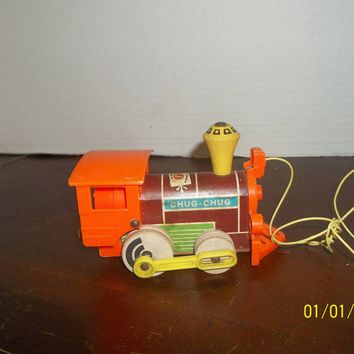 vintage fisher price chug chug train wooden & plastic pull toy