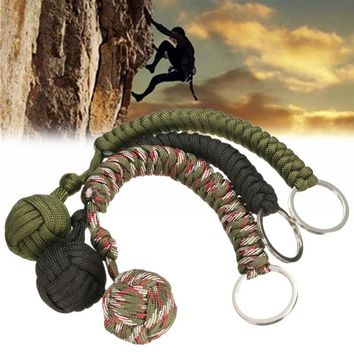 Survival Kits Strand Stainless Steel Ball Pendant Parachute Cord Key chain Key Ring Outdoor Climbing Camping Umbrella Rope
