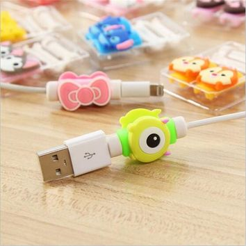 Cute Lovely Cartoon 8 Pin Cable Protector de cabo USB Cable Winder Cover Case For IPhone 5 5s 6 6s 6splus cable Protect stitch