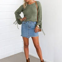 Women's Solid V Neck Lace up Sleeve Loose Pullover Sweater - NOVASHE.com