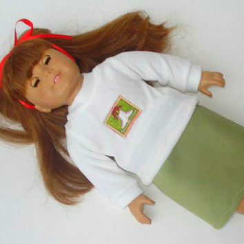 """American Girl Doll Clothes 18"""" Ivory Velour Ice Skate T shirt, Green Faux Suede Skirt ribbon 3 pc outfit - Winter Christmas FREE Shipping"""