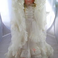 Bride Doll in Porcelain Wedding Dress , Victorian Collectible Doll on Stand