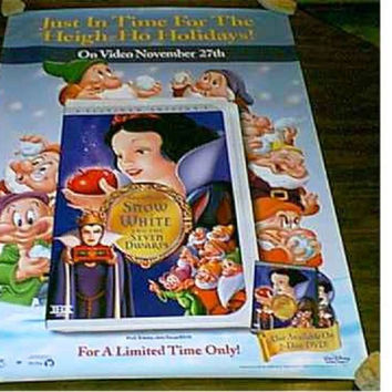 Snow White and the Seven Dwarfs DVD Poster 27x40 Used Disney Billy Gilbert, Eddie Collins, Moroni Olsen, James MacDonald, Otis Harlan, Adriana Caselotti, Pinto Colvig, Lucille La Verne, Roy Atwell, Hall Johnson Choir, Scotty Mattraw