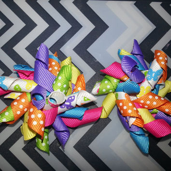 Set of TWO Mini Korker Bows - Rainbow Butterflies Toddler Baby Girl