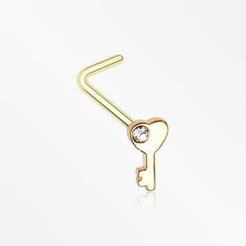 Golden Key to My Heart Sparkle L-Shaped Nose Ring