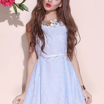 Light Blue Floral Patterned Sleeveless Dress