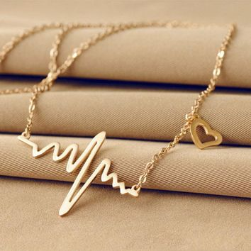 Necklaces Pendants   Heartbeat Rhythm with Love Heart Shaped  Choker Necklace Crystal  Fashion Collares mujer 2018  Gift 18MAY30