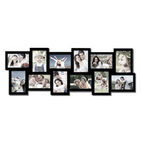 Adeco Decorative Black Wood Wall Hanging Alternating Collage Picture Photo Frame, 12 Openings, 4x6""