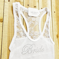 Bride Lace Tank / / Bride Tank Top / / Bride Shirt / / Getting Ready Tank Top / / Lace Bride Tank Top