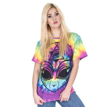 I Don't Believe In Humans Alien The All-seeing Eye Tie Dye T-Shirt - Ladies