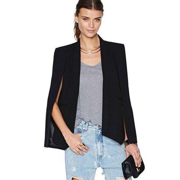 DCCKHY9 Fashion Women Long Sleeve Lapel Cape Casual Split Poncho OL Jacket Cloak Coat Blazer Suit