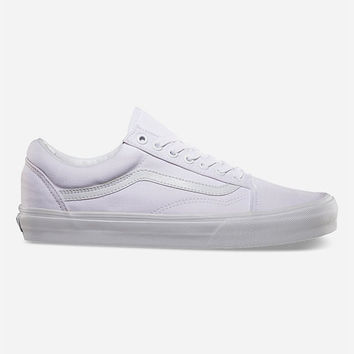 Vans Canvas Old Skool Shoes White  In Sizes
