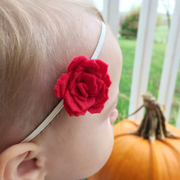 Felt Flower Headband Set, Baby Felt Flower Headband Set, Red Felt Flower Headband, Headband Three Pack, Gray Felt Flower Headband, Felt Rose