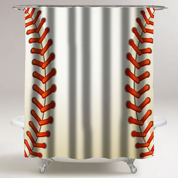 Baseball Texture Ball custom shower curtain decorative shower curtain size 36x72,48x72,60x72,66x72