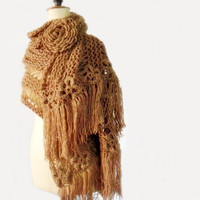 Knit Chunky  Lace Extra Large Scarf and Huge Crochet Flower Brooch Beige Light Brown