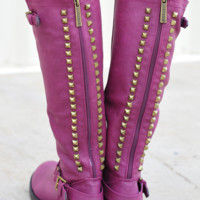 Talk Of The Town Boots: Plum | Hope's