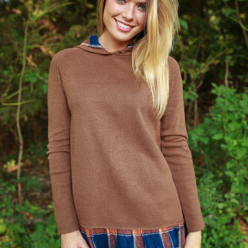 Autumn Sunrise Plaid Trim Sweater in Chocolate