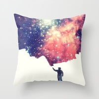 Painting the universe Throw Pillow by Badbugs_art
