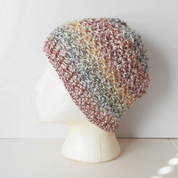 Crochet Skullcap Beanie Hat in Autumn Medley, ready to ship.