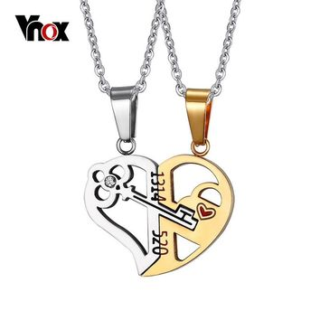 Vnox Key & Lock Heart Shape Necklace for Women Men Pendant Couple Necklaces Lover Friendship Jewelry 2pcs/ sets