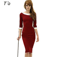 T'O Elegant Women Boat Neck Half Sleeve Fitted Tunic Dresses Stretch Pinup Rockabilly Bodycon Pencil dress 168