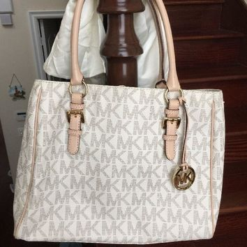 Michael Kors - MK Signature Beige Handbag With Dust Bag