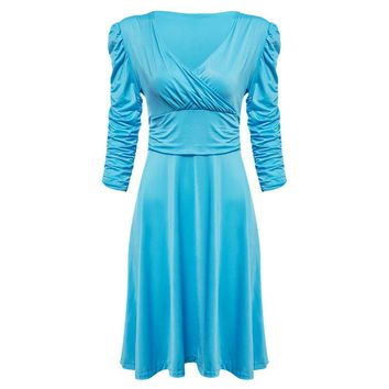 Trendy Plunging Neck Short Pleated Sleeve Ball Gown Sheath Patchwork Knee-length Solid Color Dress for Women