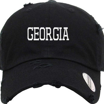GEORGIA Distressed Baseball Hat