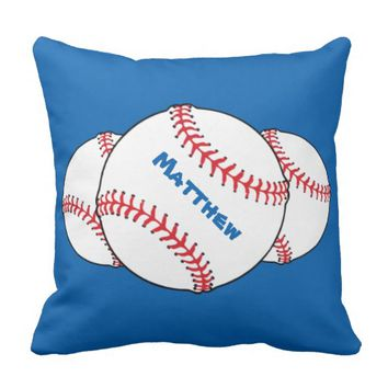 Patriotic Red White Blue Baseball Outdoor Pillow