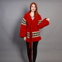 70s HOODED Red CARDIGAN / Cozy Belted Boho Sweater Coat