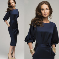 2015 new Fashion Womens Lady Short Sleeve summer casual pencil dress OL workwear sexy Bodycon Midi Dresses