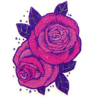 Two Roses Glitter Temporary Tattoo 2x2