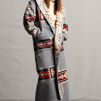 Southwestern Clothing, Long Coat, Crossroads, Reversible Pendleton® Fabric Wool Coat